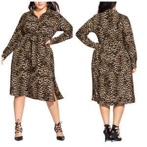 18 24 City Chic Leopard Print Shirt Dress Plus Sz